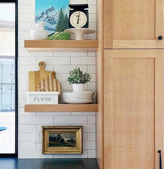 wooden kitchen cupboards with shelves designed by blue_alice_space_design