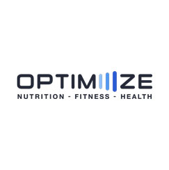 Black text logo with blue lines for Optimiiize nutrition, fitness, and health; one of the businesses located at the District on Bernard in Kelowna